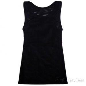 メッシュ製ナベシャツ ロング ブラック(前)