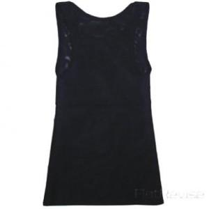 メッシュ製ナベシャツ ロング ブラック(後)
