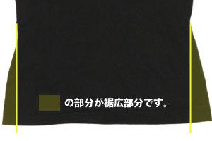 ナベシャツの裾広部分の説明