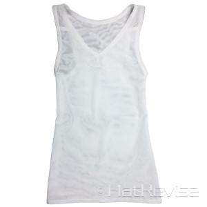 メッシュ製ナベシャツ Vネック ロング ホワイト 前