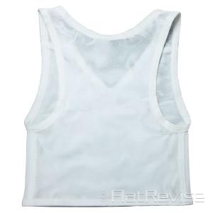 メッシュ製ナベシャツ Vネック ショート ホワイト 後
